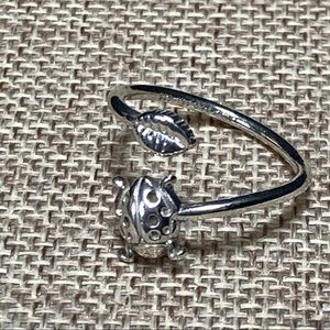 Alex And Ani Sterling Silver Ladybug Ring